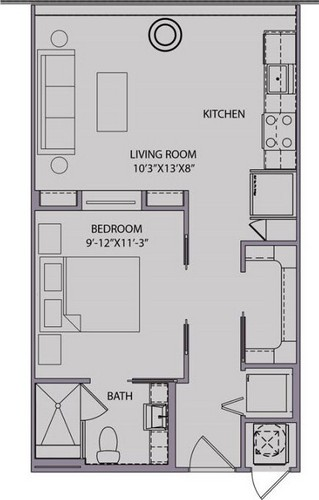 568 sq. ft. S1 floor plan