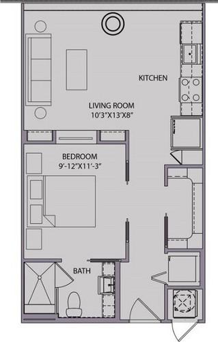 568 sq. ft. S1 floor plan