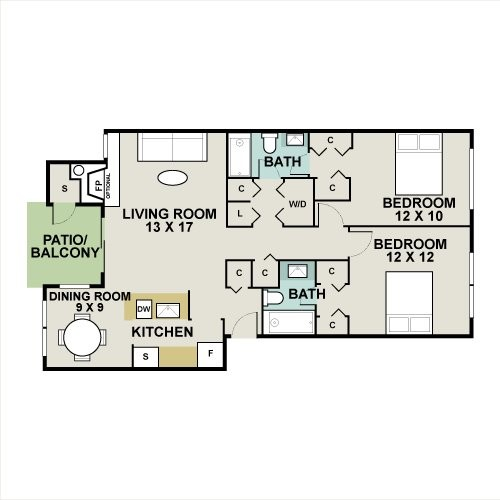 1,048 sq. ft. Sequoia floor plan