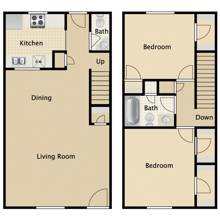 1,050 sq. ft. Williamsburg floor plan