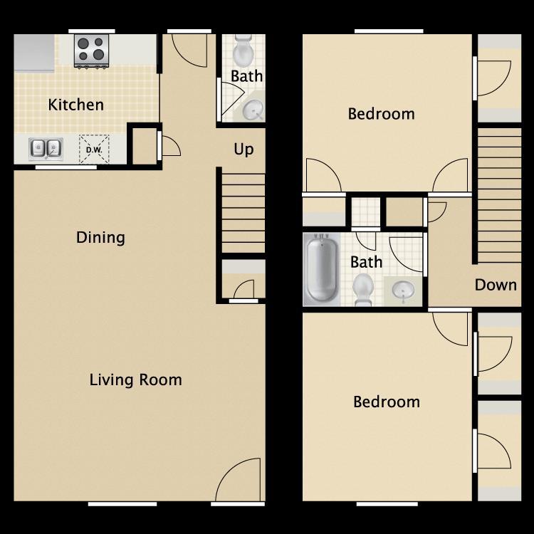 1,050 sq. ft. Williamsburg floor plan
