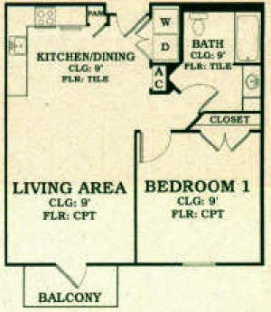 676 sq. ft. 60% floor plan