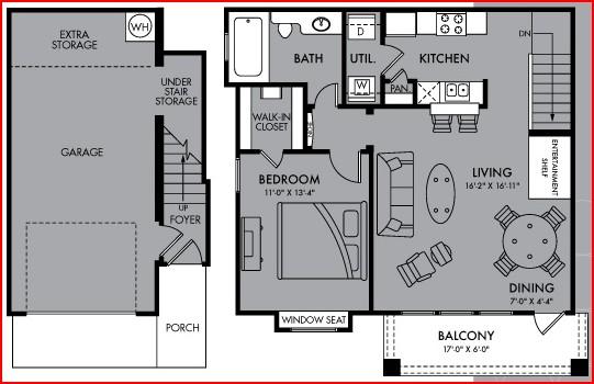 785 sq. ft. Aurora floor plan