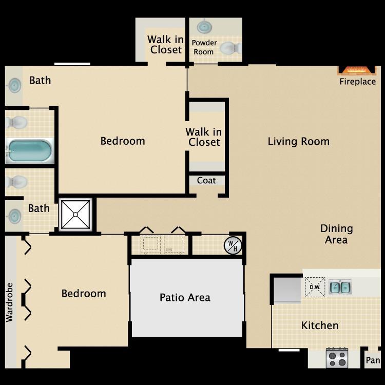1,062 sq. ft. B2 floor plan