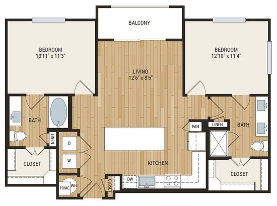 1,074 sq. ft. Baylor floor plan