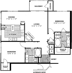 1,191 sq. ft. to 1,218 sq. ft. COLORADO floor plan