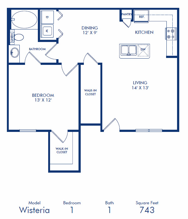 743 sq. ft. A3 floor plan