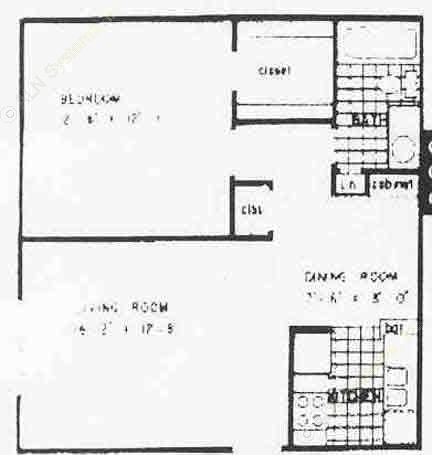 651 sq. ft. A2 floor plan