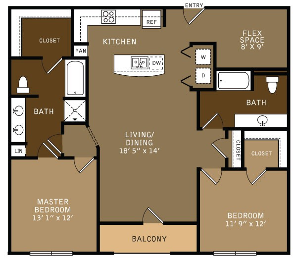 1,341 sq. ft. BF1 (I) floor plan