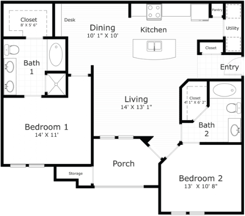 1,085 sq. ft. Waterford floor plan