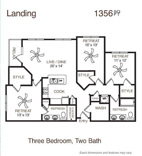 1,356 sq. ft. to 1,359 sq. ft. Landing floor plan