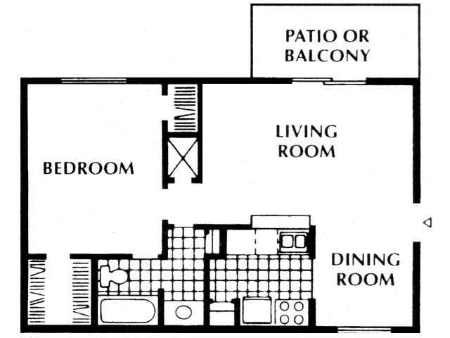 657 sq. ft. A2 floor plan