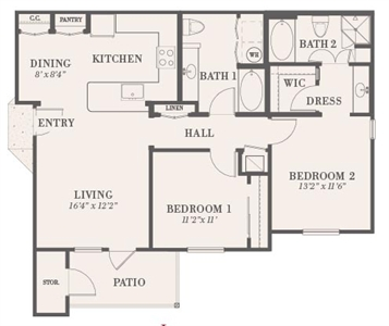 1,028 sq. ft. Lyndhurst floor plan