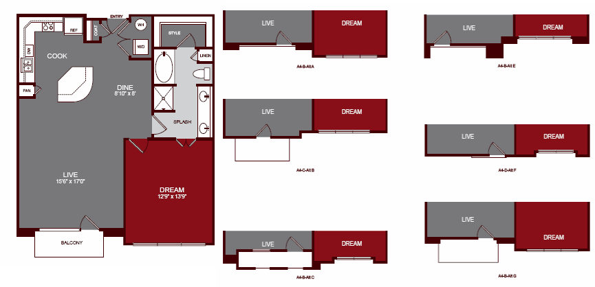 920 sq. ft. A4-A floor plan