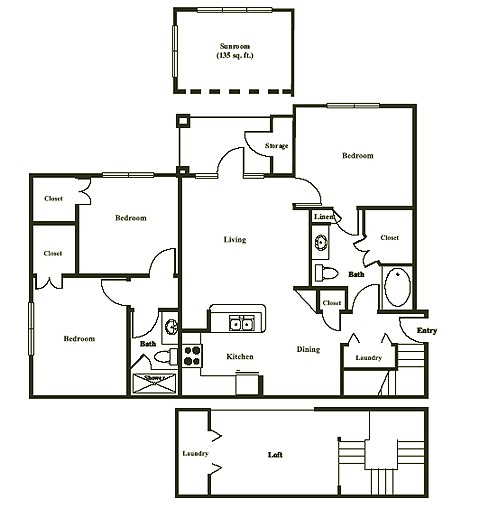 1,495 sq. ft. LAREDO floor plan