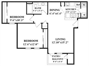 870 sq. ft. A2 floor plan