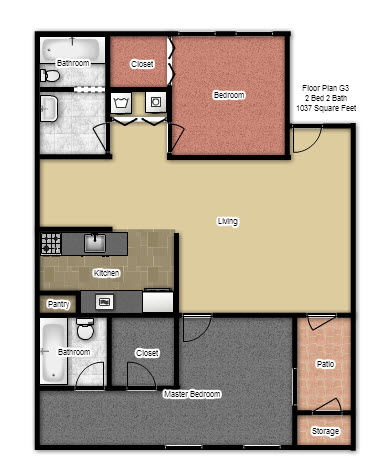 1,081 sq. ft. G3 floor plan