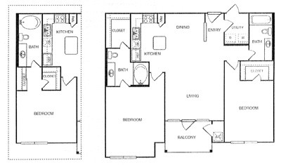 1,109 sq. ft. Imperial w/ Garage floor plan