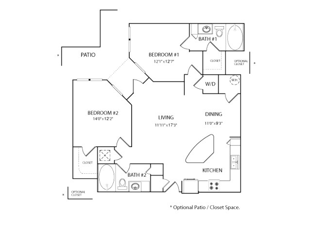 1,097 sq. ft. to 1,111 sq. ft. B1 floor plan