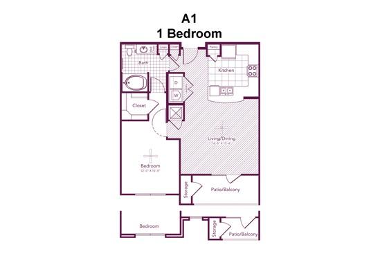 774 sq. ft. to 814 sq. ft. Alabama floor plan