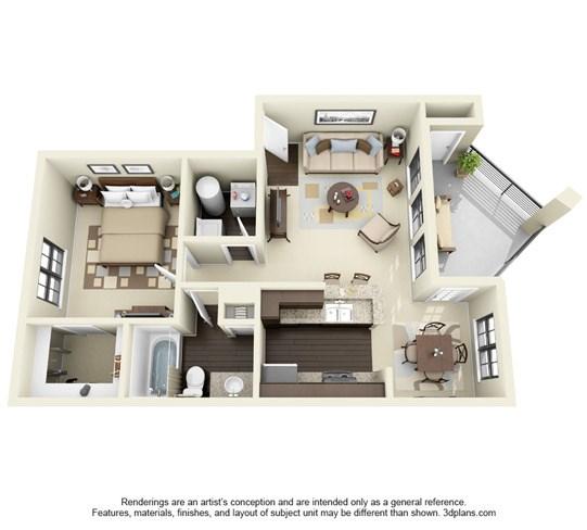 700 sq. ft. C floor plan