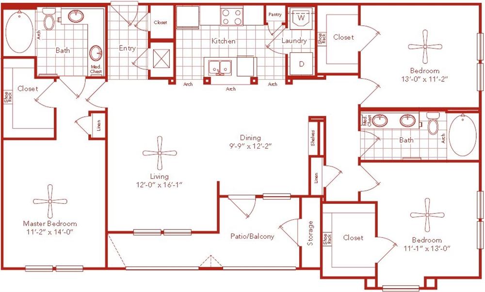 1,442 sq. ft. Cambridge floor plan