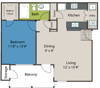 702 sq. ft. A1 floor plan