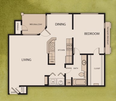 821 sq. ft. A2 floor plan