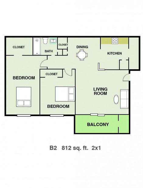 812 sq. ft. floor plan