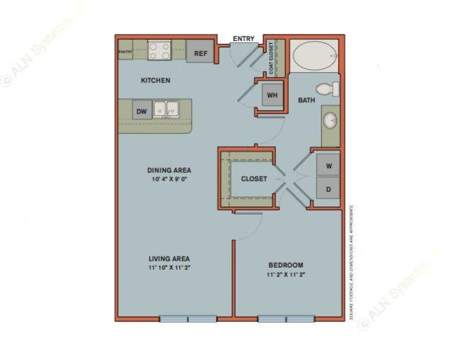 715 sq. ft. A2 floor plan