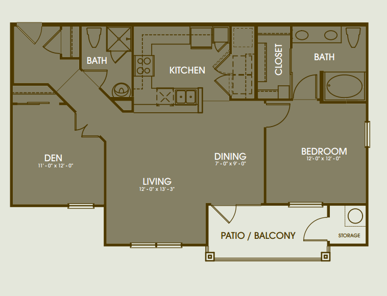 1,194 sq. ft. Pinehurst floor plan