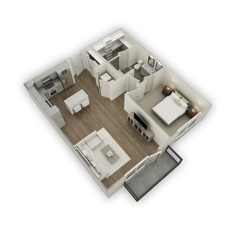 900 sq. ft. A6 floor plan