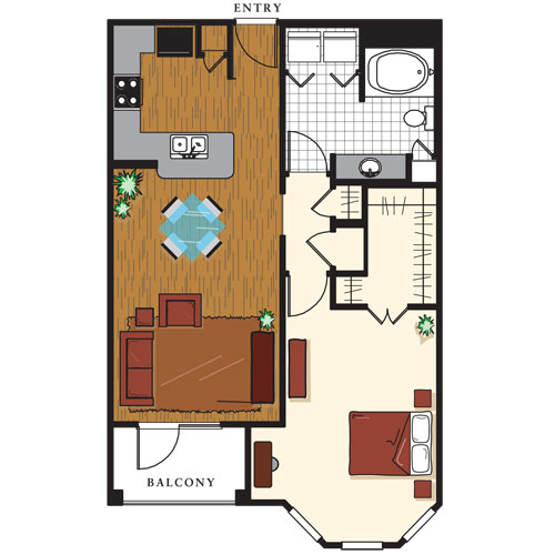 838 sq. ft. A4 floor plan