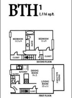 1,116 sq. ft. BTH1 floor plan