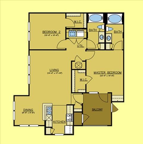 1,144 sq. ft. Dakota floor plan
