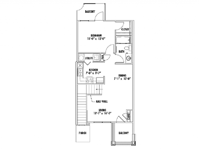 712 sq. ft. A3 floor plan