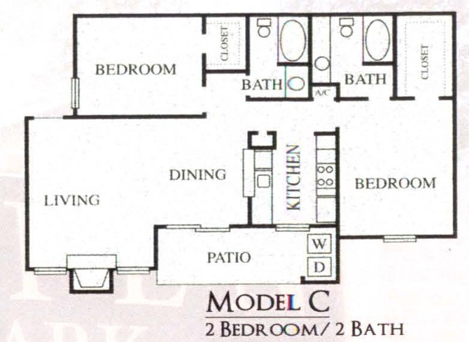 970 sq. ft. C floor plan