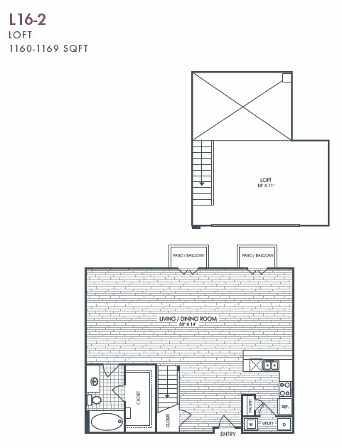 1,160 sq. ft. to 1,169 sq. ft. L16-2 floor plan