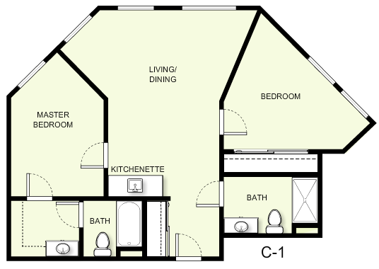 860 sq. ft. C1 floor plan