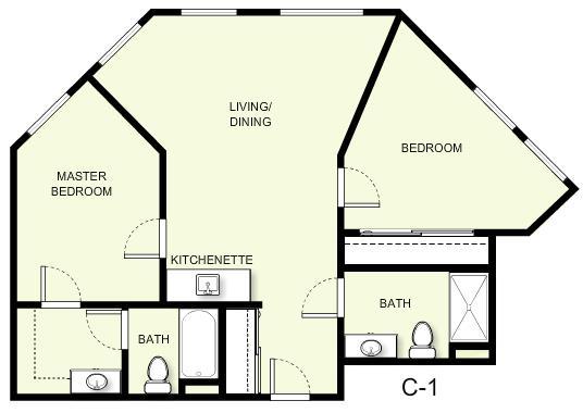 860 sq. ft. C1 floor plan
