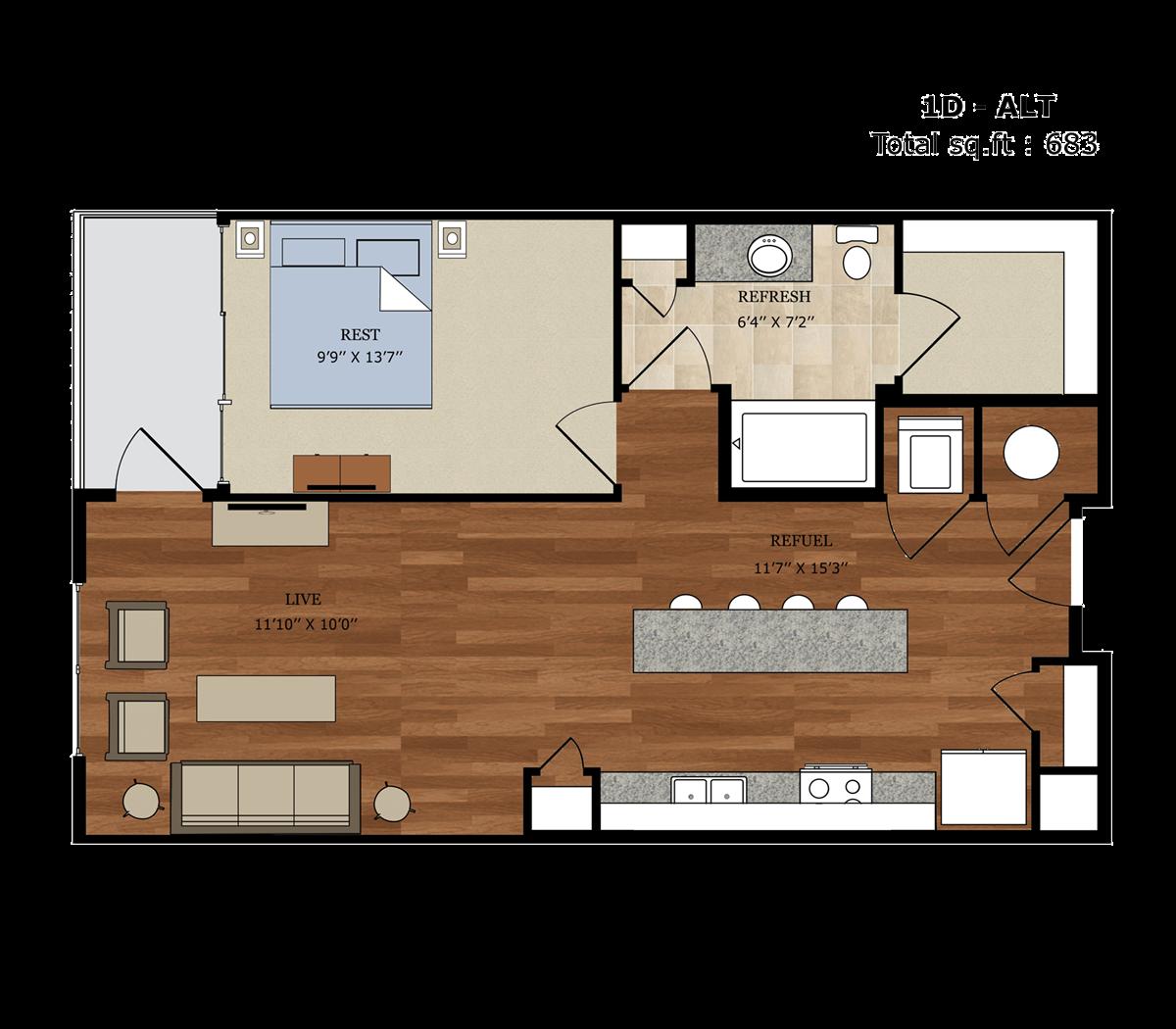 683 sq. ft. 1D Alt floor plan