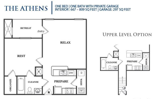 809 sq. ft. A1UG-Athens floor plan
