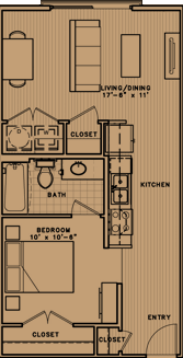 653 sq. ft. E2 floor plan