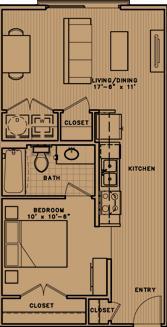 653 sq. ft. E2 floor plan