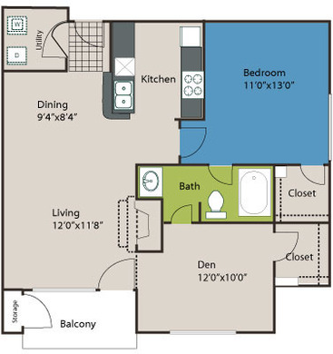 819 sq. ft. A4L floor plan