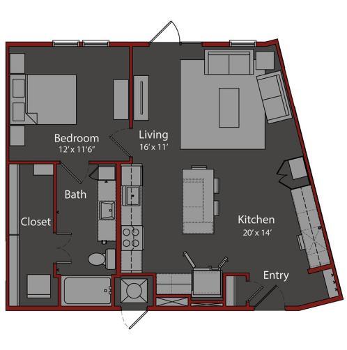 828 sq. ft. A10 floor plan