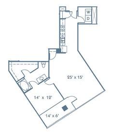 920 sq. ft. A7 floor plan
