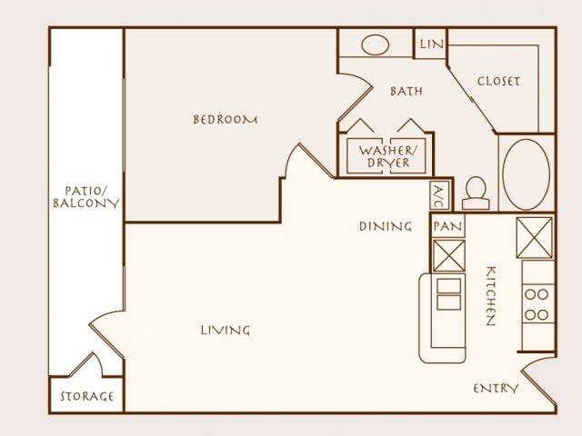 709 sq. ft. Acacia floor plan