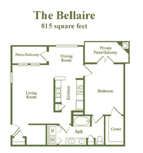 815 sq. ft. Bellaire floor plan