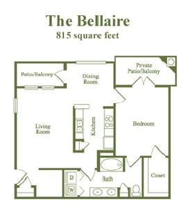 815 sq. ft. Bellaire floor plan